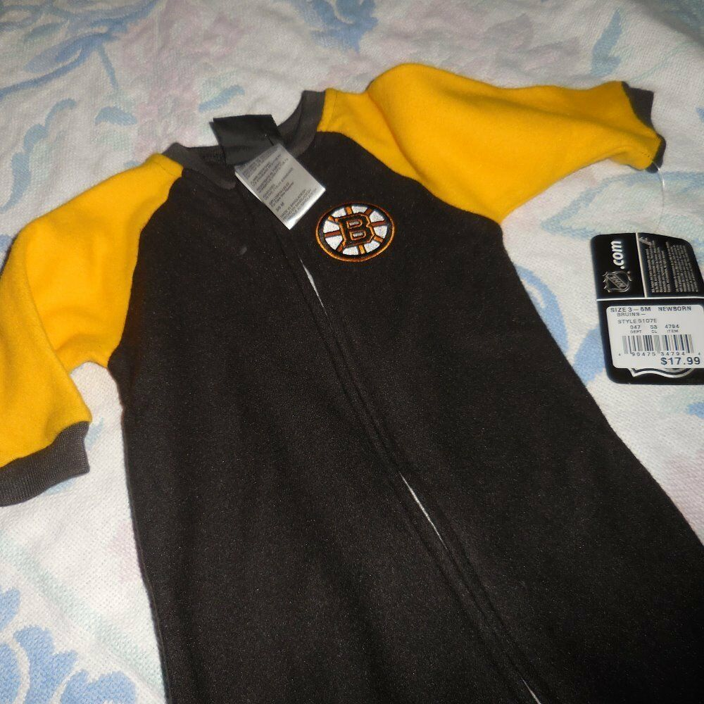 f0aa1730feac nwt NHL Boston Bruins hockey fleece footed pajama baby boy 6 - 9 m ...