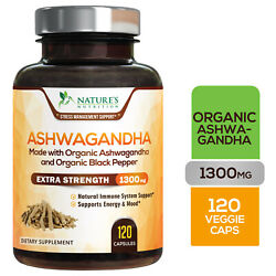 Kyпить Organic Ashwagandha Capsules High Potency Supplement w/ Black Pepper Root Powder на еВаy.соm