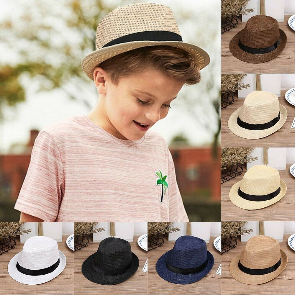 1a555a3b15f Details about Kids Baby Boy s Summer Beach Sun Hat Jazz Panama Trilby Fedora  Hat Gangster Cap