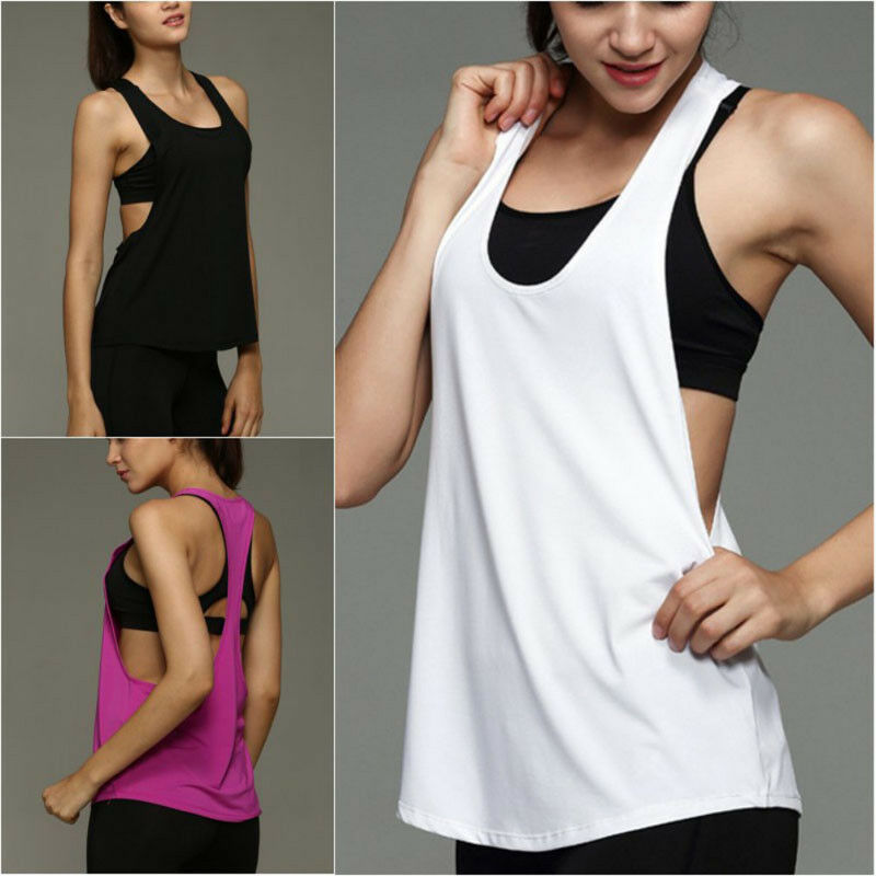 Details about Women Loose Gym Sports Vest Training Running Solid Tank Tops  Fitness Yoga Blouse 14678c82ce