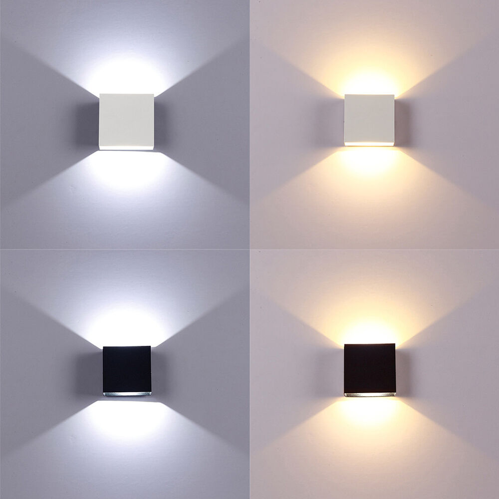 Modern LED Wall Lights Up/Down Cube Indoor Outdoor Sconce