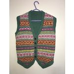 Vintage Knitted Waistcoat / Sleeveless Cardigan, Fair Isle, Colourful -Small/Med