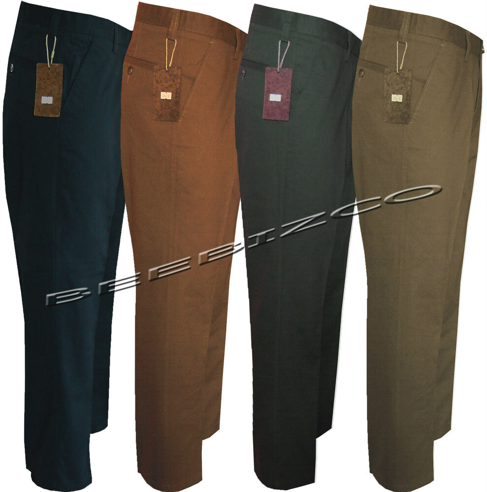 Mens Chino Straight Leg Jeans Pants Regular Fit Trousers Casual 100 Cotton Ebay