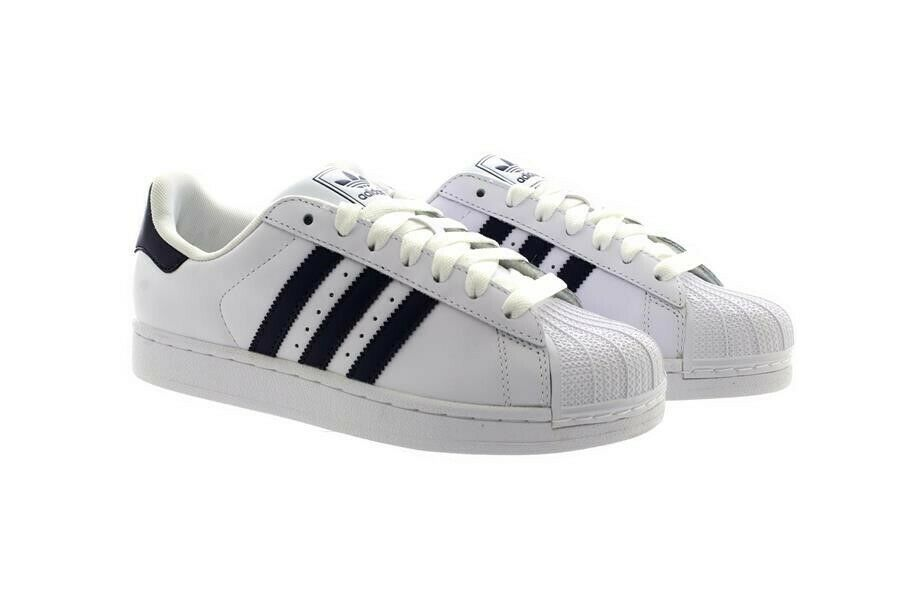 sports shoes b4d65 8257f Details about Mens Adidas SUPERSTAR ORIGINALS Trainers Sneakers White Navy  Stripe G17070