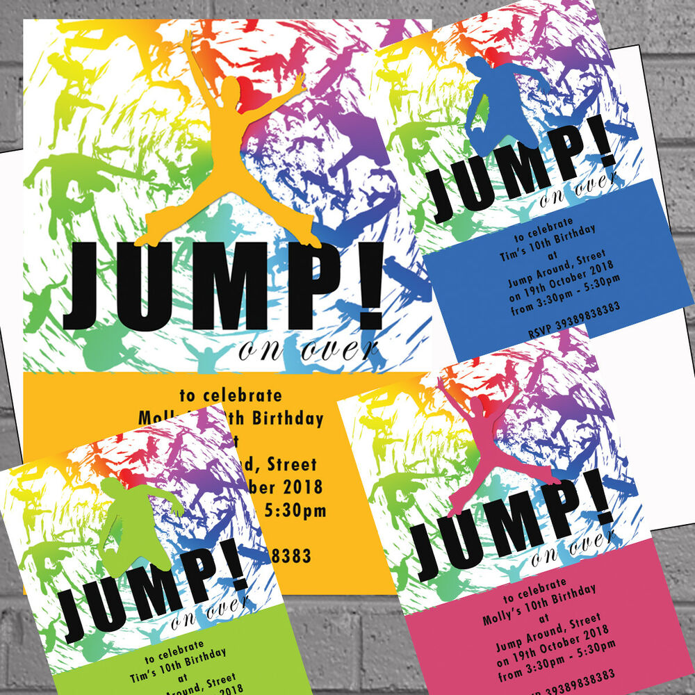 Details About Trampoline Party Invitations Invites Jump Birthday Personalised X 12 H1854