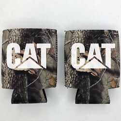 2 CAT Caterpillar Fan Beer Can Cooler Coozie Koozie CAMO Gift QTY 2
