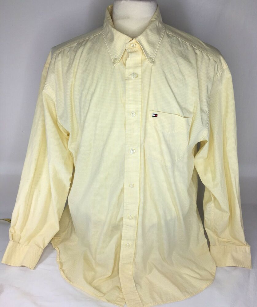 Tommy Hilfiger Vintage Yellow Casual Button Down Shirt Long Sleeve