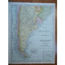 Vintage 1952 ARGENTINA - CHILE Map ~ Old Authentic Original Atlas Map 72818