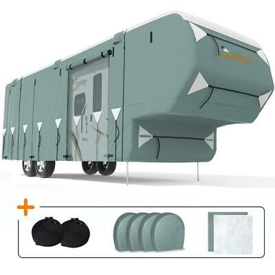 KING BIRD 33'-37' Extra-thick 5-Ply Deluxe 5th Wheel RV Cover & 4 Tire Covers