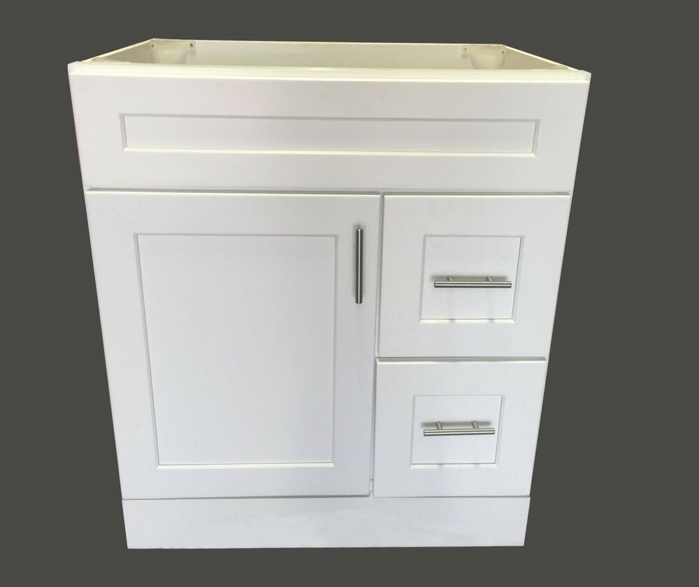 New White Shaker Single Sink Bathroom Vanity Base Cabinet