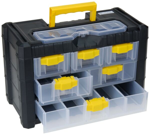 Large Plastic Tool Box with Carry Handle Storage Case Organiser Compartments #Y