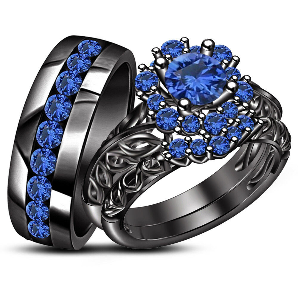 14k Black Gold Over Blue Sapphire Mens And Womens Engagement Ring