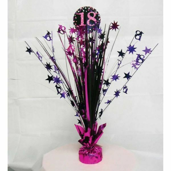 Details About Pink 18th Birthday Table Decoration Centrepiece Spray Cascade Weighted 33cm