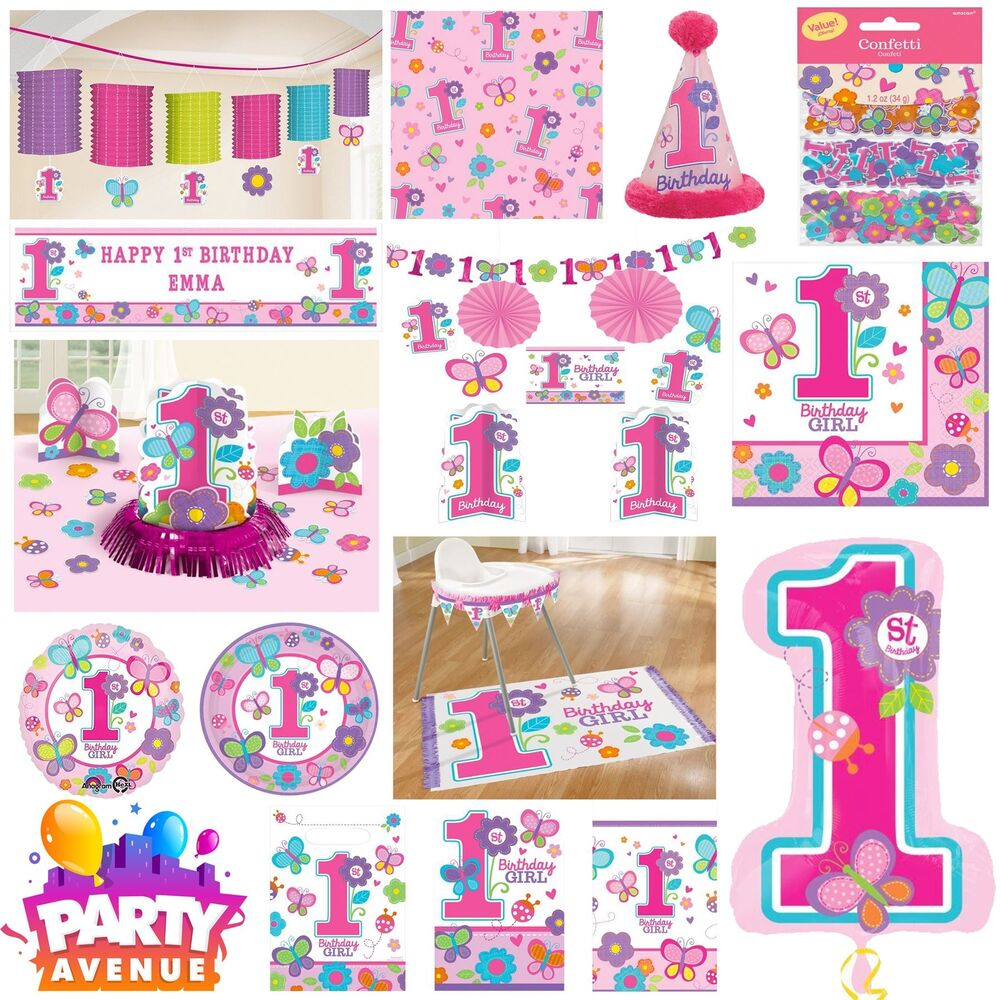 Details About Sweet Birthday Girl Party Baby 1st Decorations Tableware Balloons