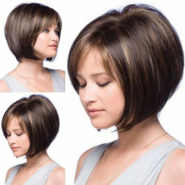 Women's Ombre Full Wig Synthetic Hair Root Natural Short Straight Bob Hairpieces