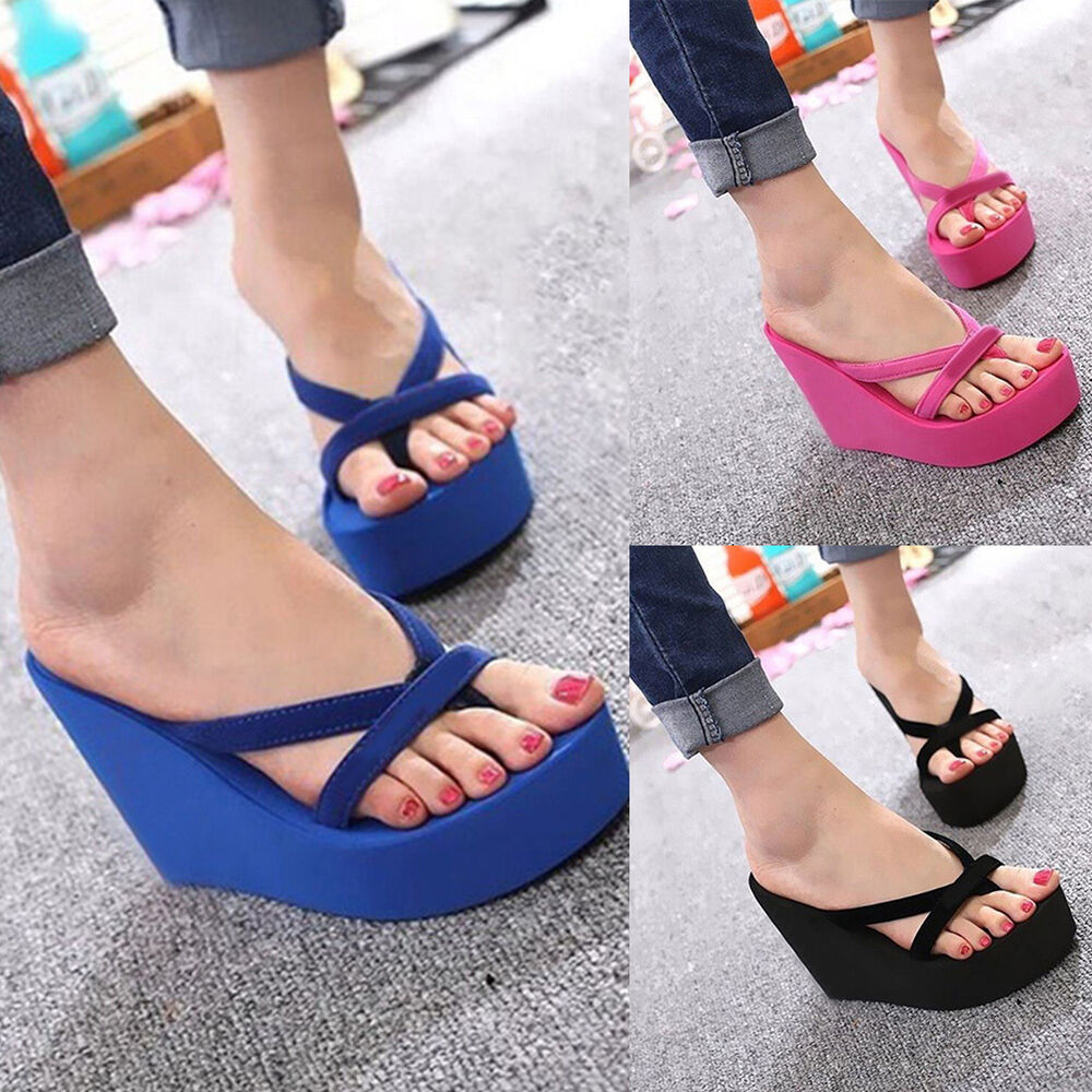 Womens Wedge Platform Flip Flops Thong High Heel Slippers -6985