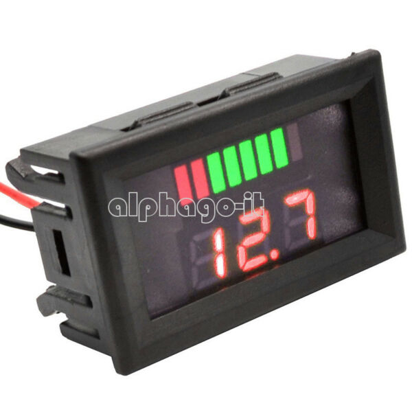 12V LED Indicator Battery Capacity Tester Voltmeter Lead-acid Lithium Red
