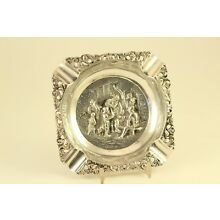 Antique Silver Plate HH 90 Herman Hooijkaas Schoonhoven Holland Embossed Ashtray