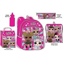 LOL Surprise Backpack With Lunchkit Set Girls School Water Bottle