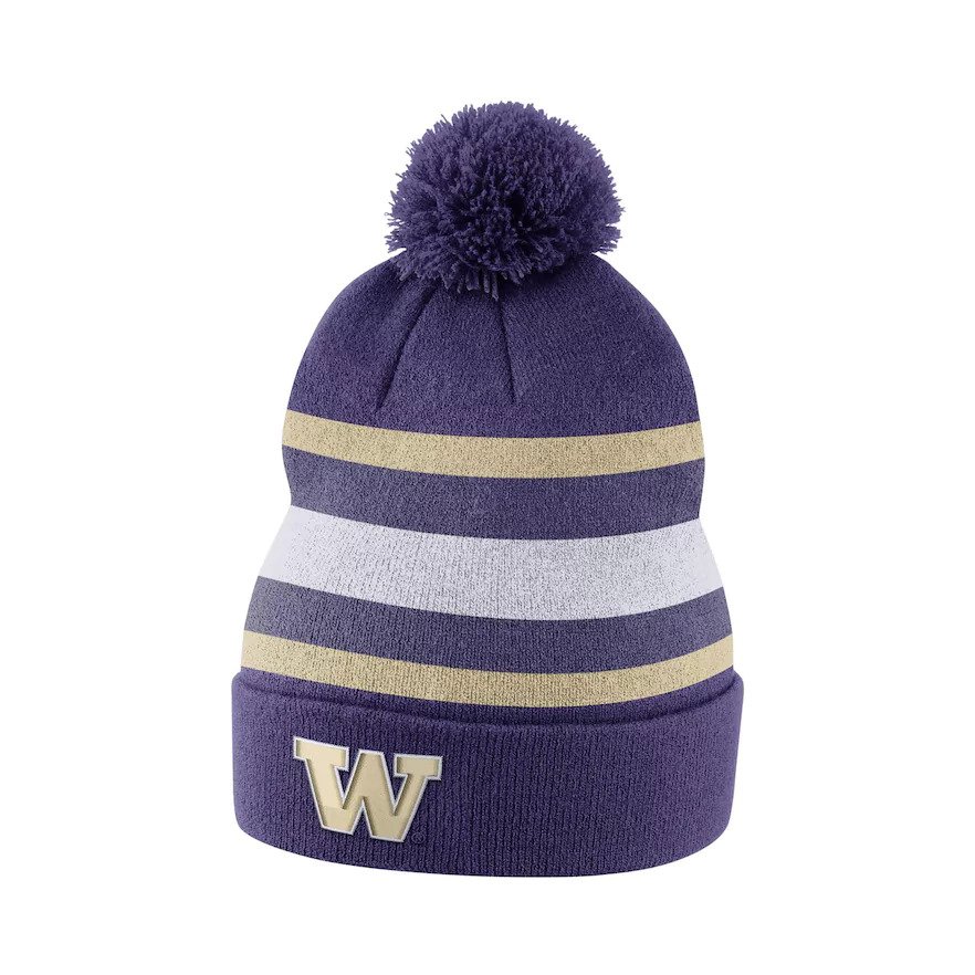 81c6b0b688e7c Details about NIKE Washington Huskies Cuffed Knit Hat Beanie Cap with Pom -  Adult
