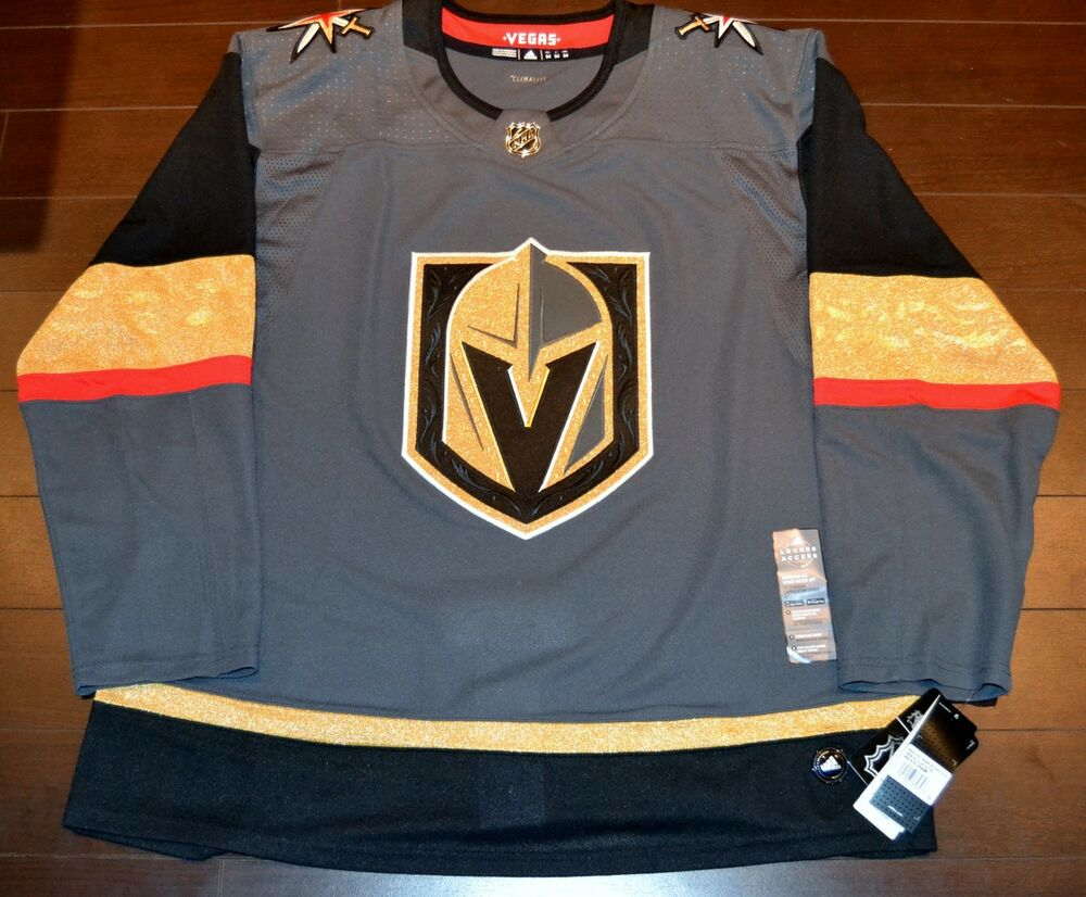 b4e398813 Details about Vegas Golden Knights Adidas Authentic Home NHL Hockey Jersey  Size 52