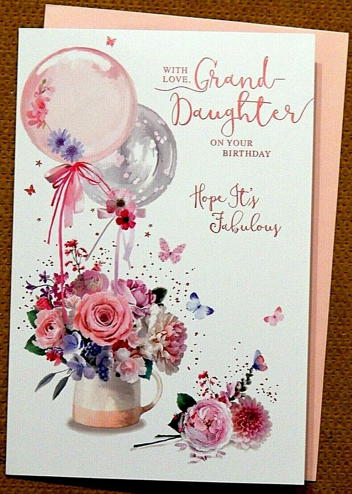 Details About Granddaughter Birthday Card With A Loving Verse Coloured Insert Grandaughter