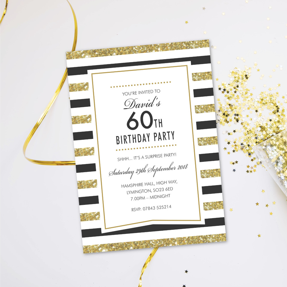 Details About Surprise 60th Birthday Party Invitations Evening Disco Cards Invites GLF 06