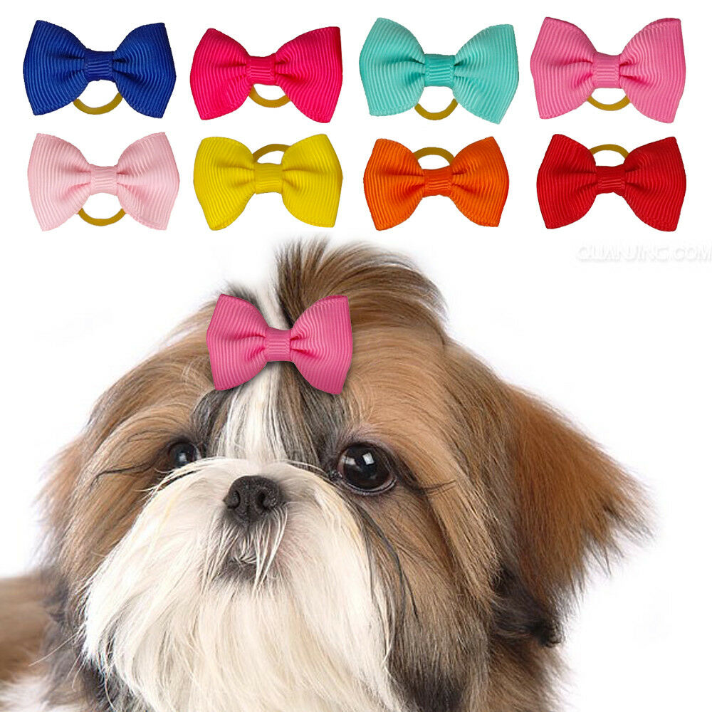 50100pcs Hair Dog Bows With Rubber Bands Pet Puppy Grooming