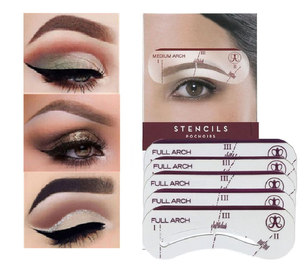 Eyebrow Shaping Stencil Kit Perfect Eye Brow Liner Style 5 Pack