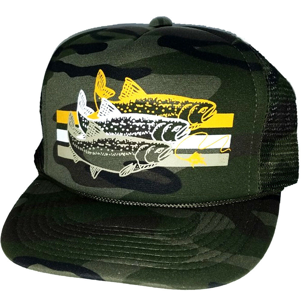 c9486e21a936d Details about Trout Camouflage Camo Striped Snapback Mesh Trucker Hat Cap  Fly Fishing