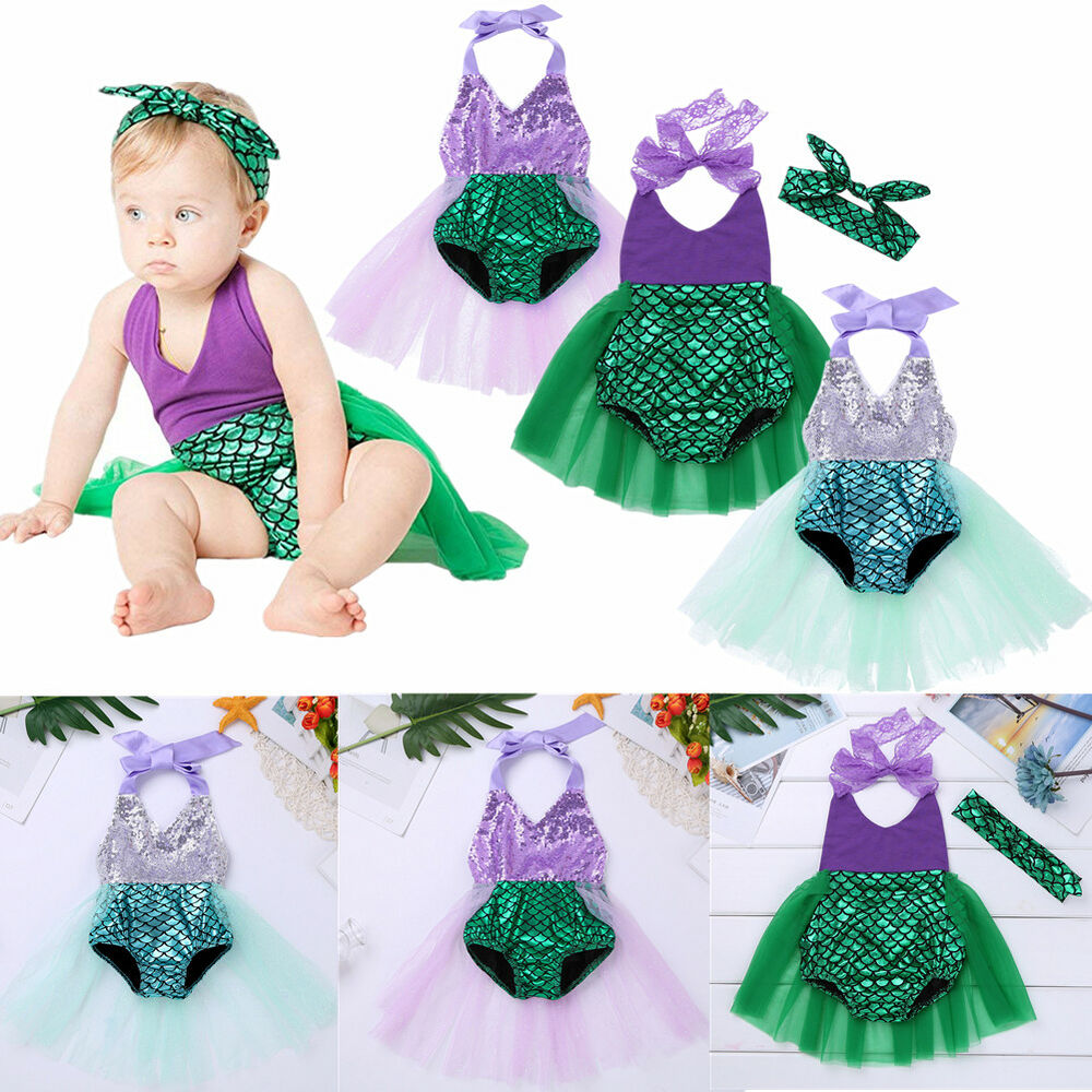 6b69ab0159eb Details about Baby Girls Sequins Backless Romper Tutu Dress Little Mermaid Halloween  Costume