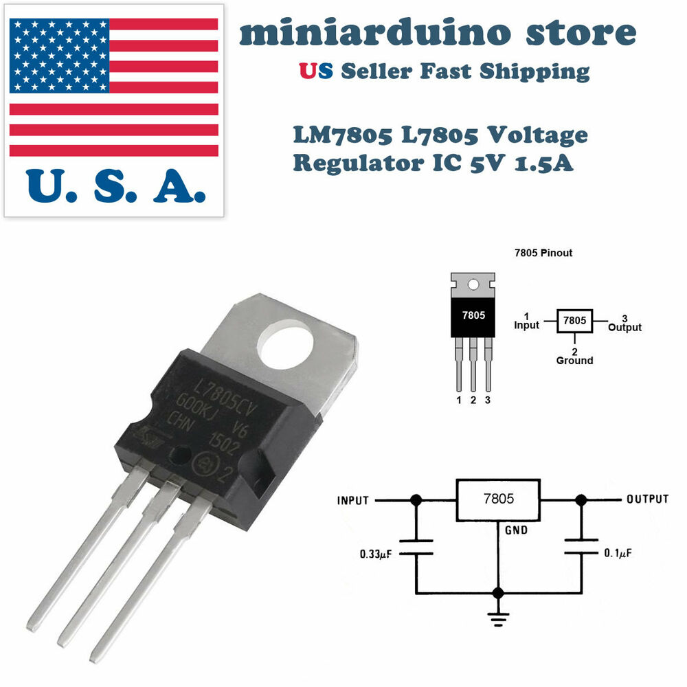 5 X Lm7805 L7805 7805 Ic Positive Voltage Regulator 5v 1