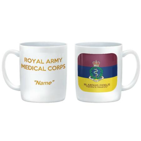 img-RAMC MEDICAL CORPS CUSTOMISED Ceramic Mug - Corps badge on Flag Colours & Motto