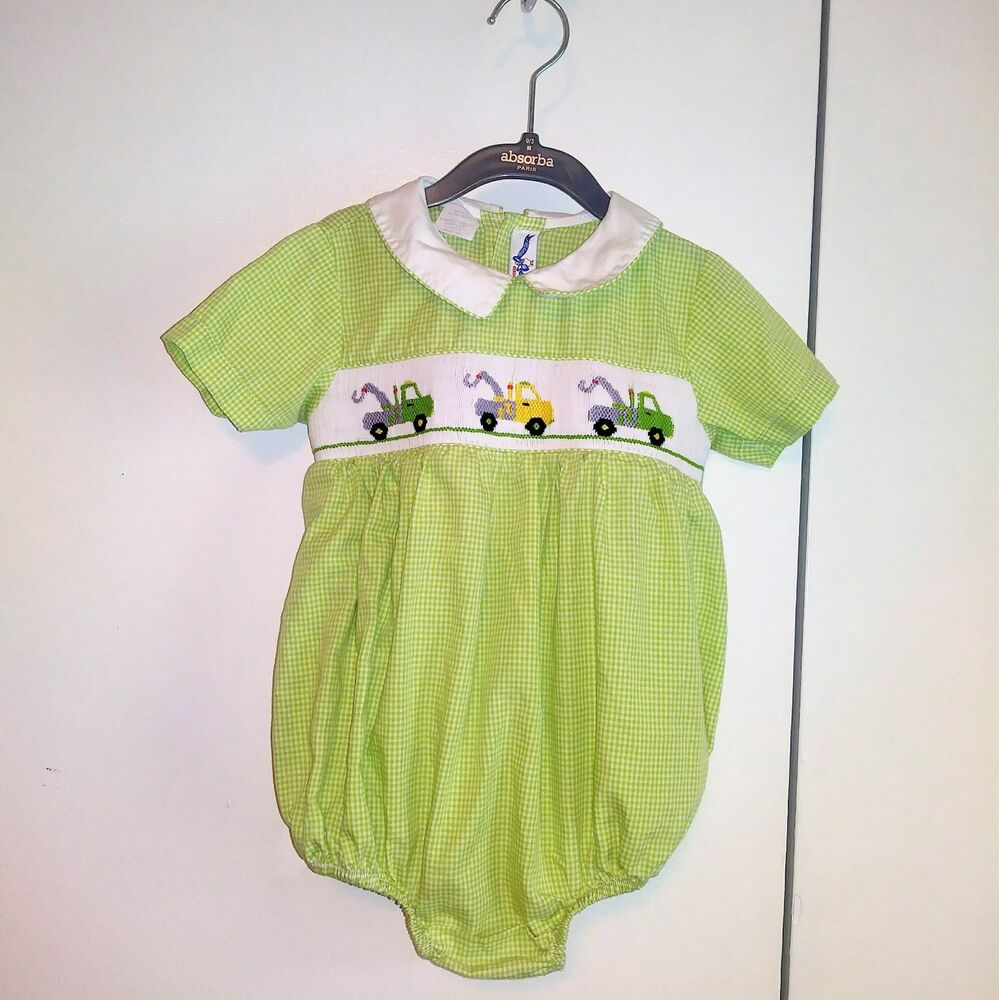 2810531fef09 Details about Silly Goose Hand Smocked Vtg Cotton Green Checked OnePiece  Romper SS Outfit 18M