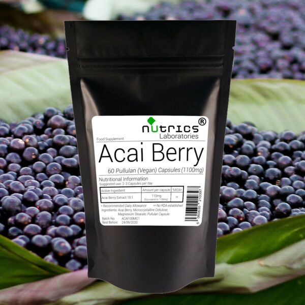 Nutrics® ACAI BERRY 1100mg 60 Vegan Capsules ACAI Extract not tablets powder