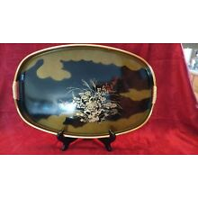 Vintage TOYO Japanese black and gold Lacquered lacquerware Tray Oval  16.5 X 11