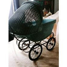 Antique Wicker Baby Buggy Stroller Carriage Doll Old Vintage / blue