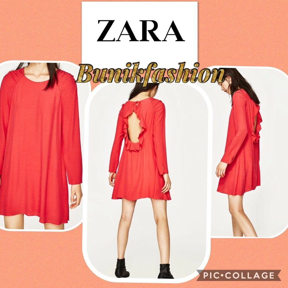 bf66677c84a Details about NWT NEW Zara trafaluc collection ruffled open back Long  Sleeve Sz XS
