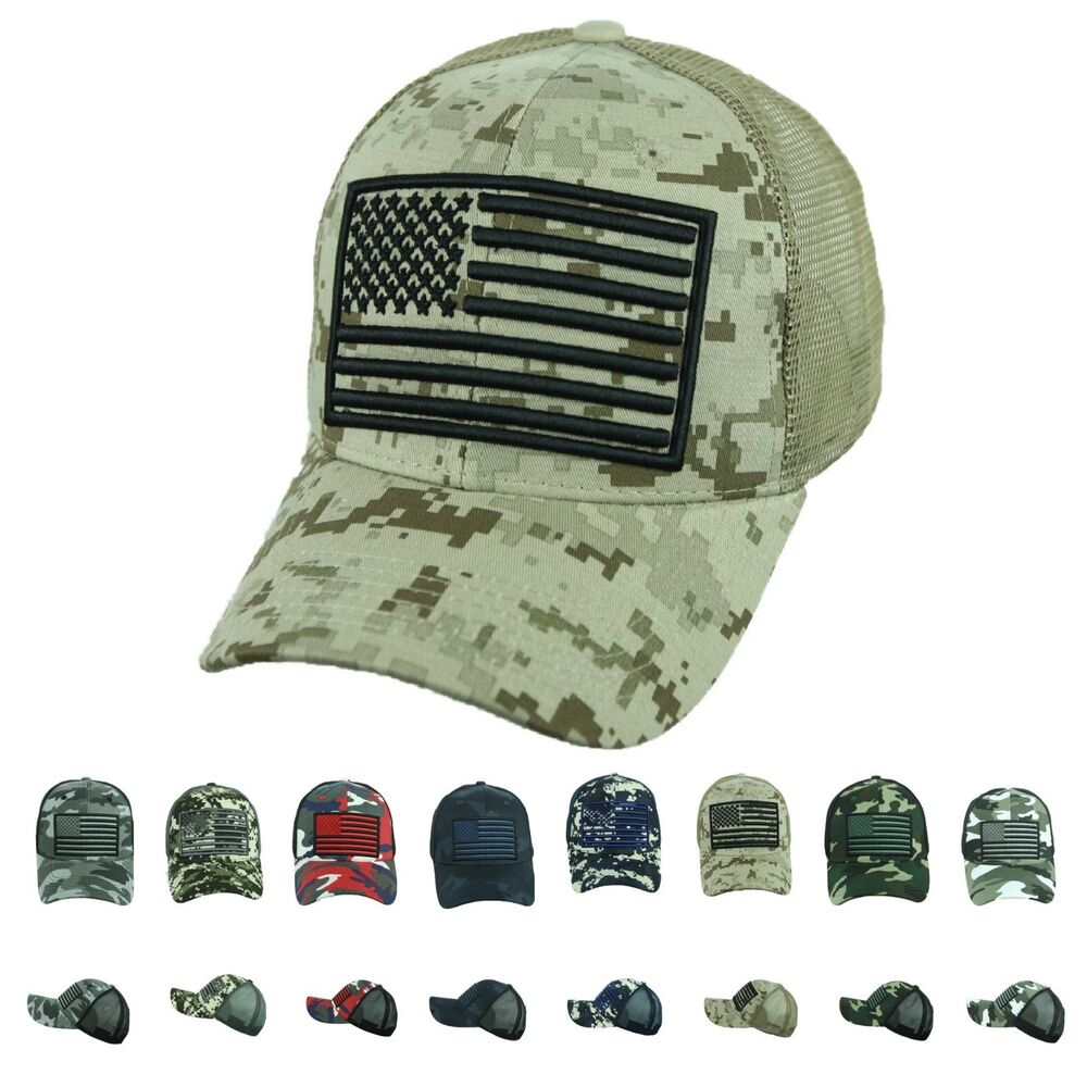 a3bd0db8fd9 Details about US Flag Hat Baseball Cap Mesh Trucker Army Tactical Camo  Fishing Hunting Hiking