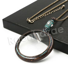Cyan Antique Vintage Tree of Life Magnifying Glass Locket Pendant Necklace