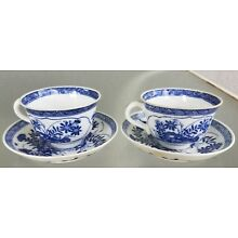 Pair Chinese Blue & White Tea cups / Saucers Export China