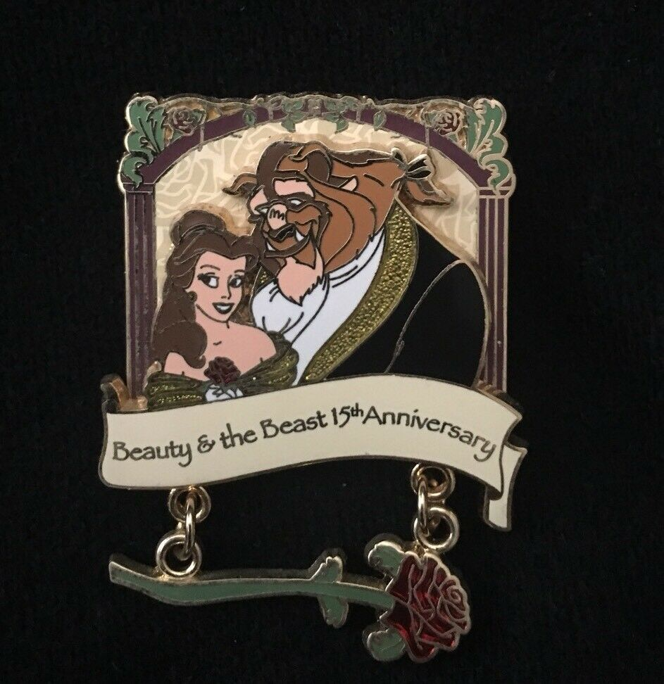 Beauty And The Beast Rose Dangle 15th Anniversary WDW