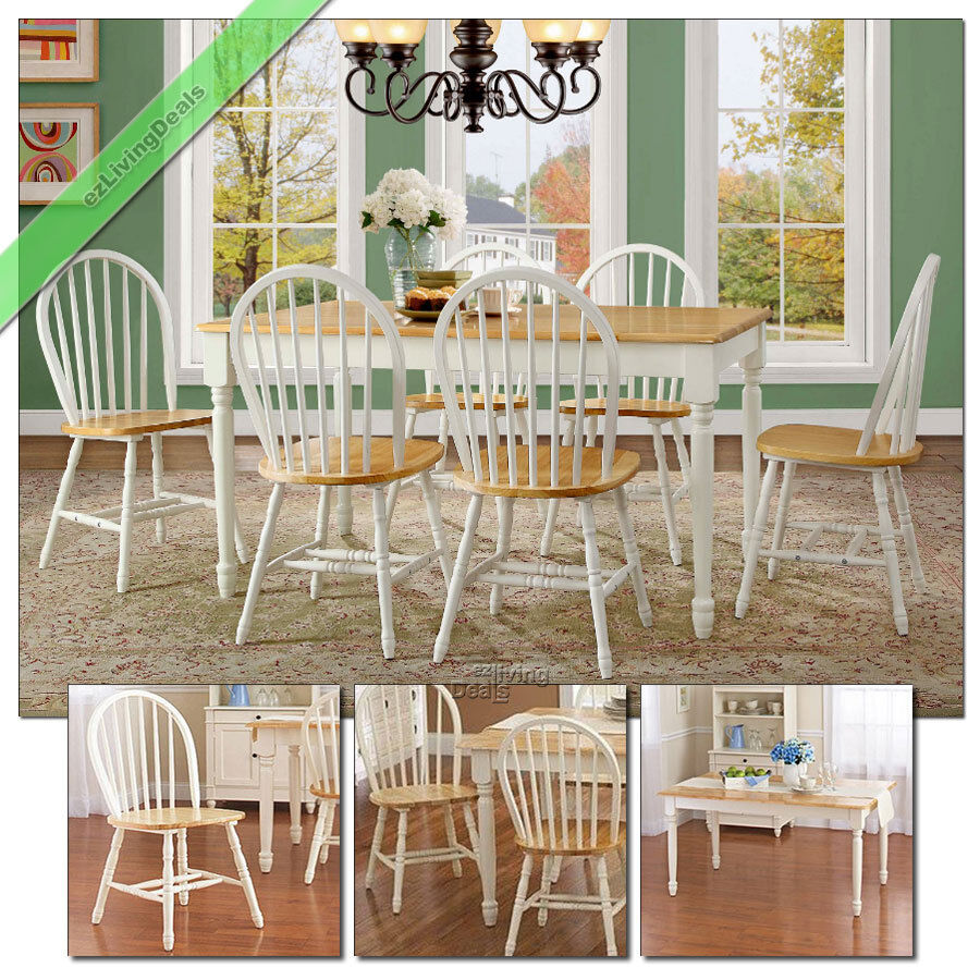 Country Kitchen Table Sets: 7 Piece Dining Set Farmhouse Wood Table Chairs Room