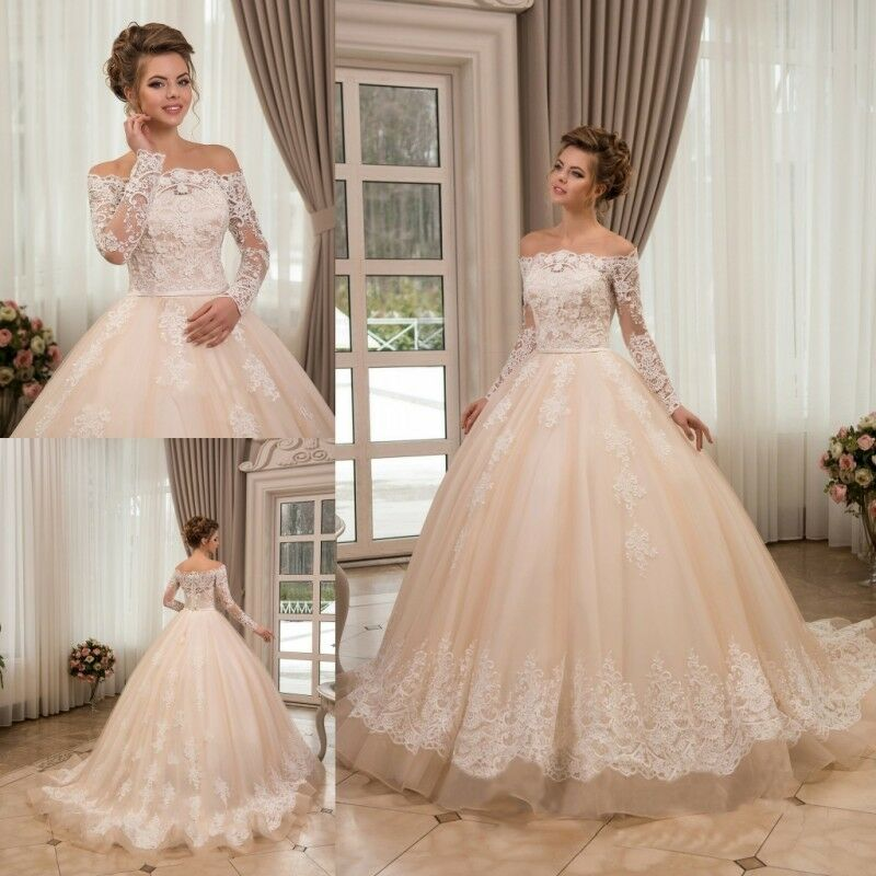 Champagne Lace Wedding Gown: Vintage Champagne Wedding Dresses Bridal Gowns Off