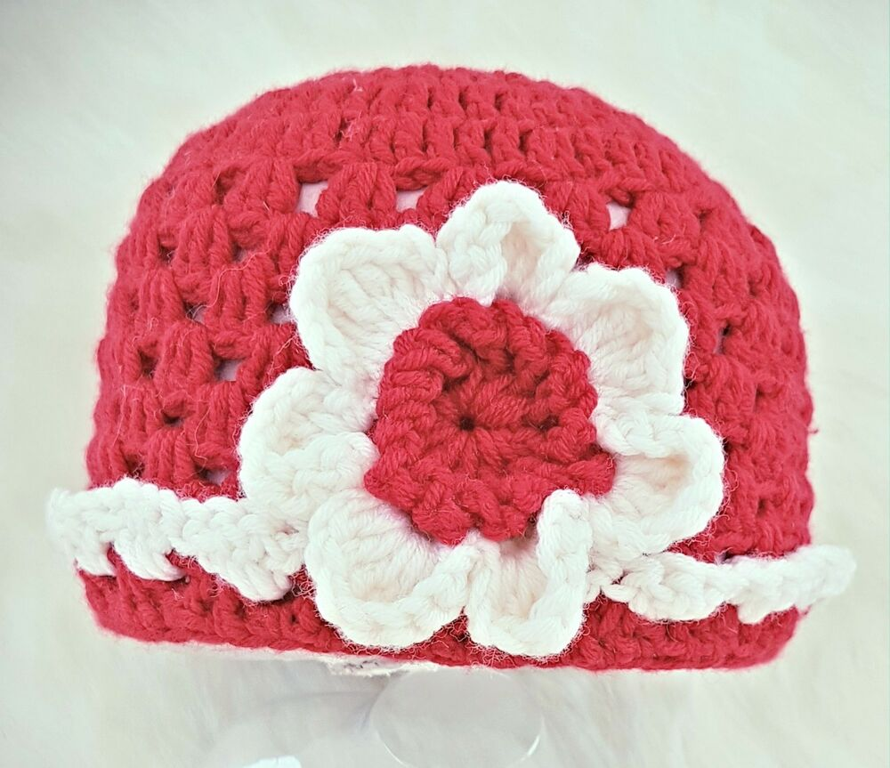 d7b450e6b69 Details about HAND CROCHETED BABY GIRLS RED MERINO HAT XMAS shower gift  romany bling vintage