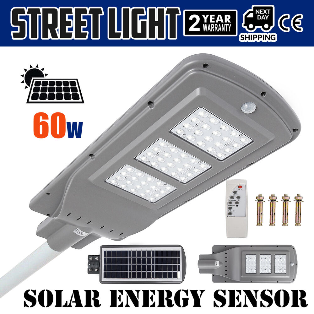 Details About 60w Led Solar Motion Activated Sensor Wall Street Light Outdoor Gray Waterproof