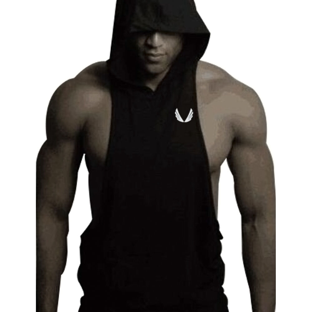 694862f19832c Details about Men Gym Clothing Bodybuilding Stringer Hoodie Tank Top Muscle  hooded Shirt