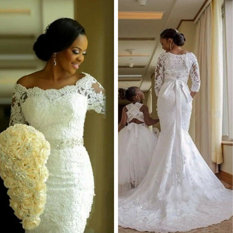c9623553d07e Lace Mermaid Wedding Dresses Appliques Bride Gowns 3/4 Sleeve Boat ...
