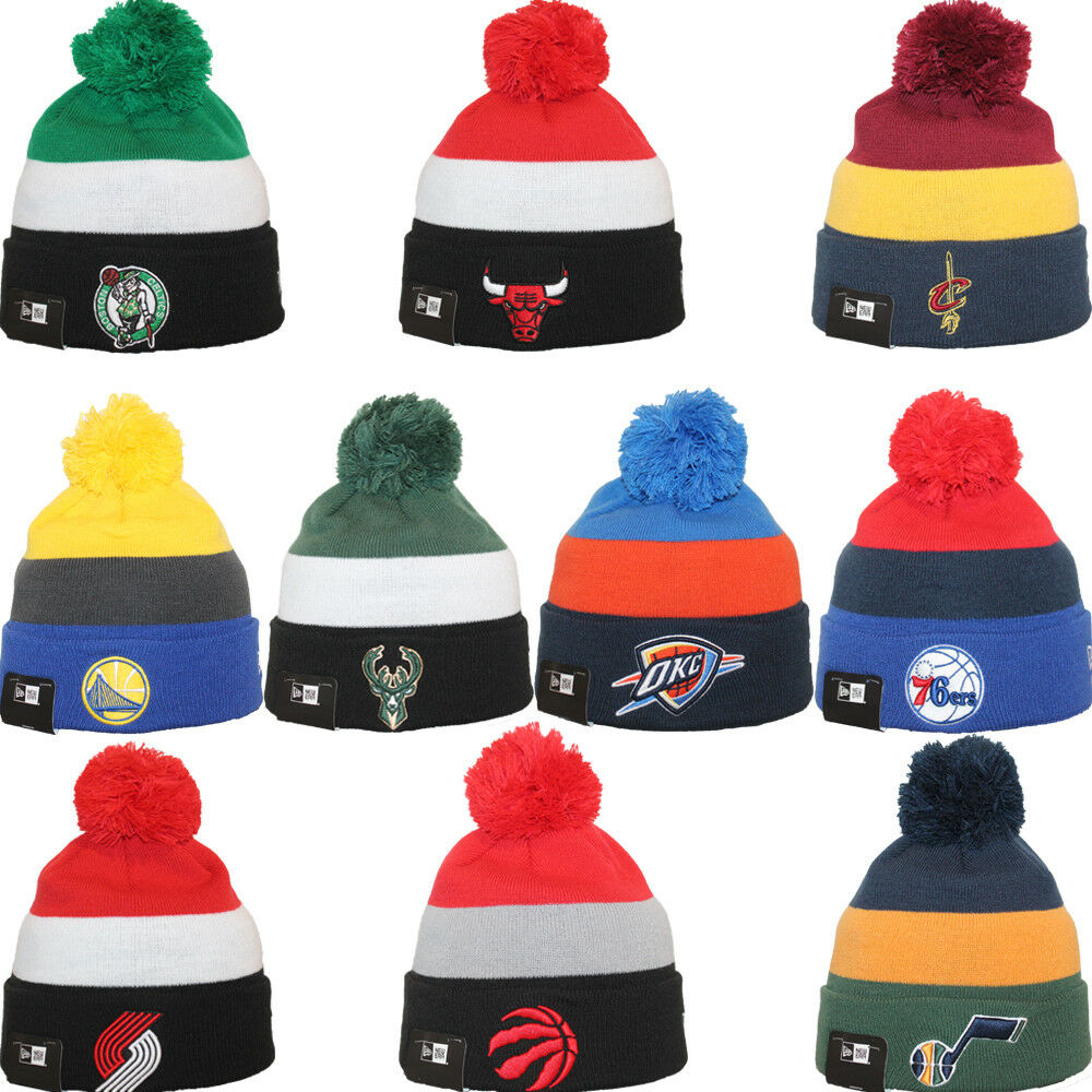 Details about New Era NBA TRIBLOCK Sport Knit Pom Pull On Team Beanie Hat  Cap One Size b38f88772f99