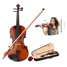 New 4/4 Full Size Natural Basswood Acoustic Violin Fiddle +Case +Bow + Rosin US